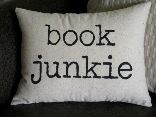 Book junkie pillow