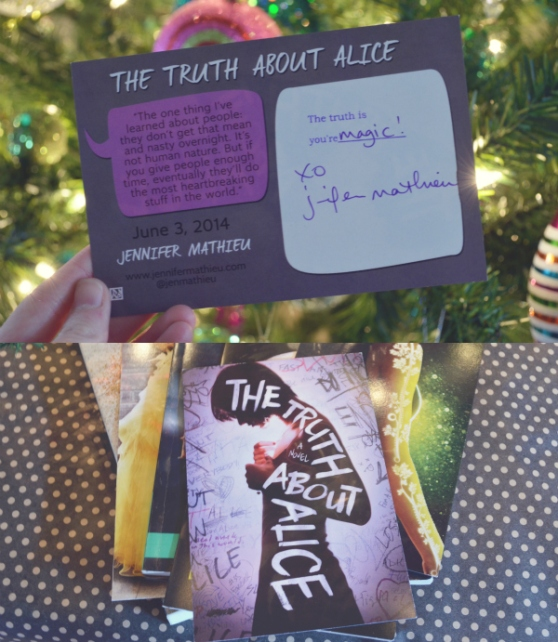 Postcard signed by Julie Mathieu, author of The Truth About Alice