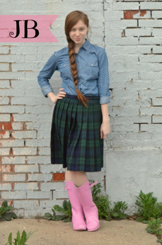 JB from thegirlsinplaidskirts.com, plaid skirt, pink rainboots